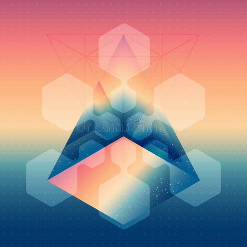 Prisma isométrico abstrato com a reflexão do espaço e do lo ilustração royalty free