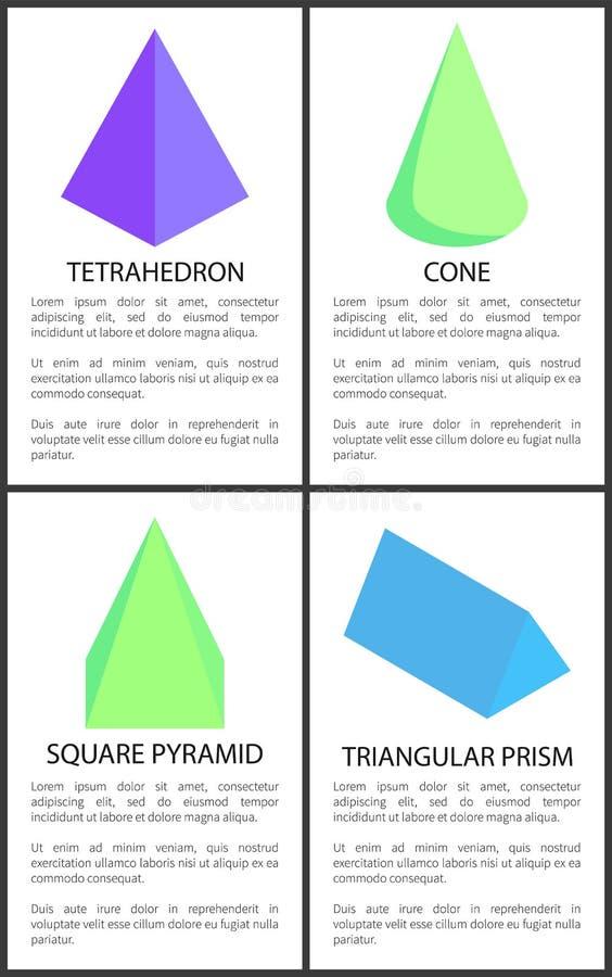 Prisma triangolare della piramide quadrata del cono del tetraedro illustrazione vettoriale