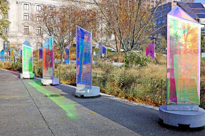 Prismatica, an international outdoor art exhibition, brings color to Public Square in downtown Cleveland, Ohio, USA royalty free stock photography