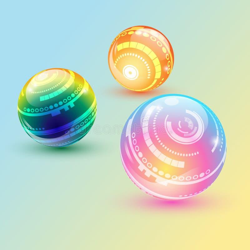 Prismatisk belysningboll vektor illustrationer