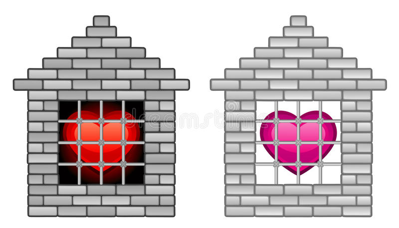 Prison. A captive of love, isolated on white vector illustration