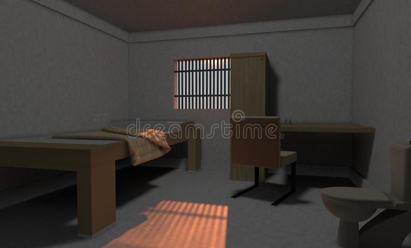 Prison Cell. 3d design. Prison cell and global light stock illustration