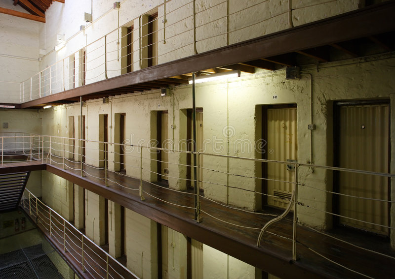 Prison cell block. View of prison cell blocks royalty free stock photo