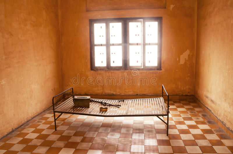 Prison cell of Tuol Sleng royalty free stock photography