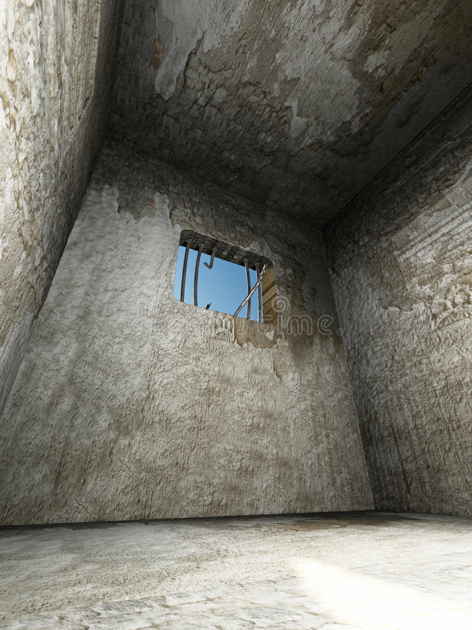 Free Prison Cell With Broken Prison Bars On The Window. 3D Illustration Royalty Free Stock Images - 94223939