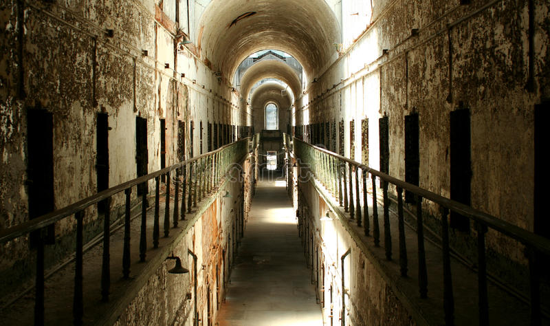 Prison cellblock. A old historic prison cellblock royalty free stock images
