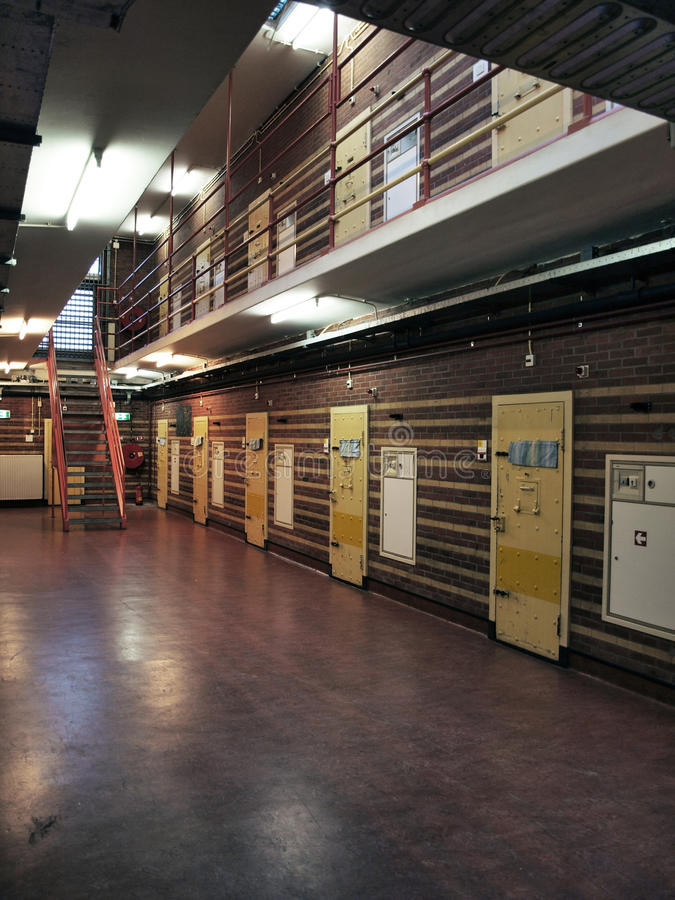 Prison cels. Dutch prison cells with yellow doors stock images