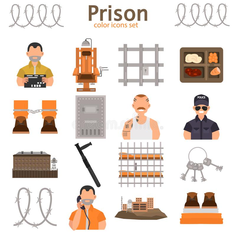 Prison color flat icons set for web and mobile design royalty free illustration