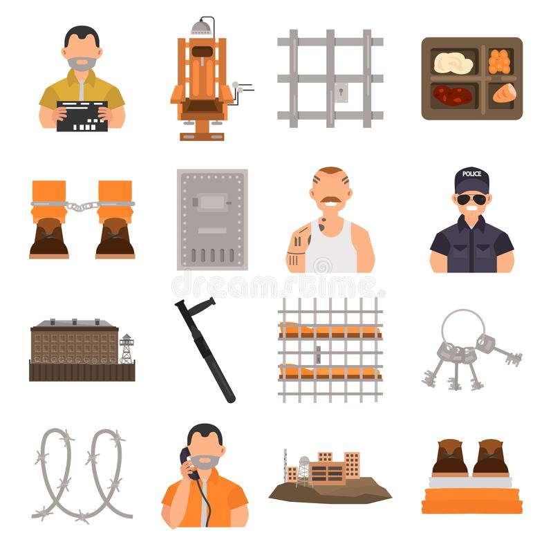 Prison color flat icons set for web and mobile design stock illustration