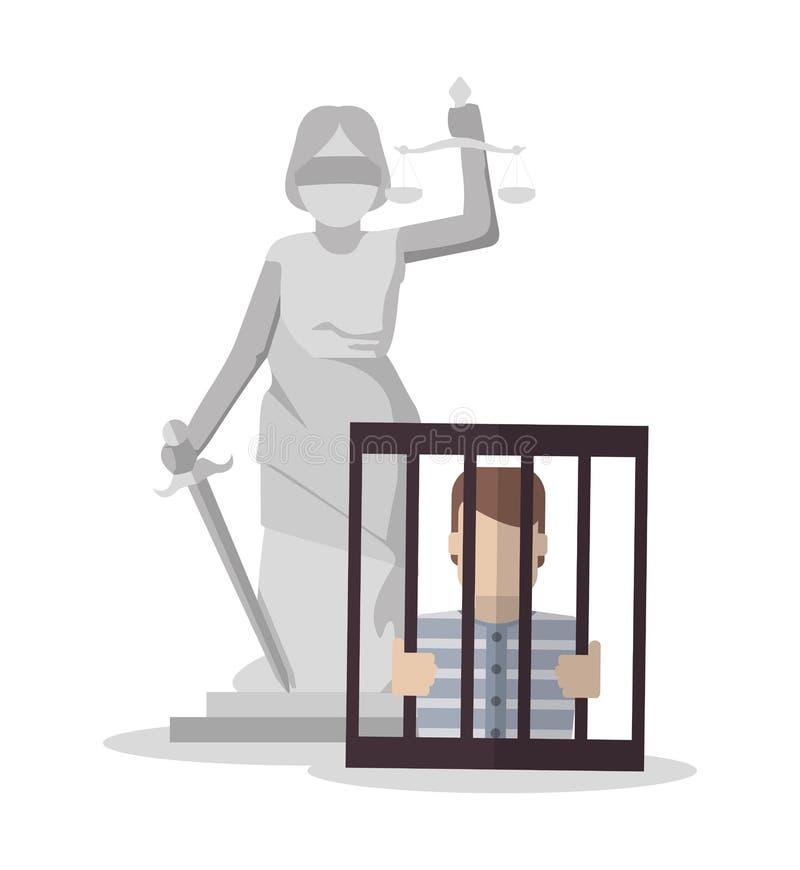 Prison de monument et conception de loi illustration stock