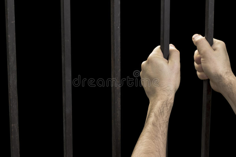 Prison de prisonnier de main image stock