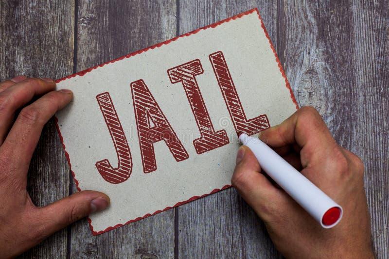 Prison des textes d'écriture de Word Concept d'affaires pour l'endroit pour l'emprisonnement des personnes accusées et condamnées images libres de droits