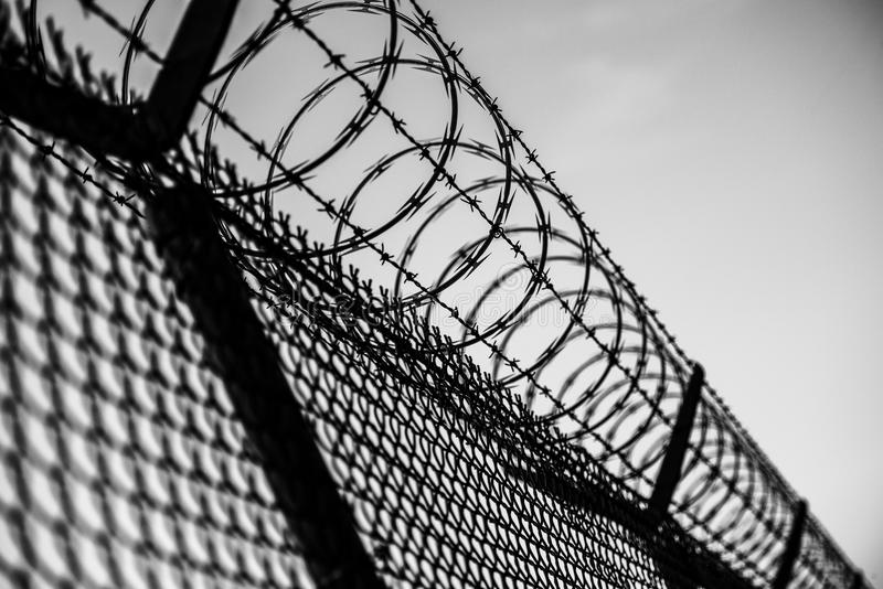 Prison Fence. In Black and White. Barbed Wire Fence Closeup stock photography