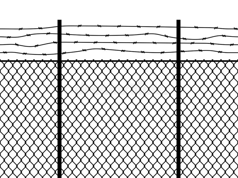Prison fence. Seamless pattern metal fence wire military wall linkage barbed border security perimeter grid vector black royalty free illustration