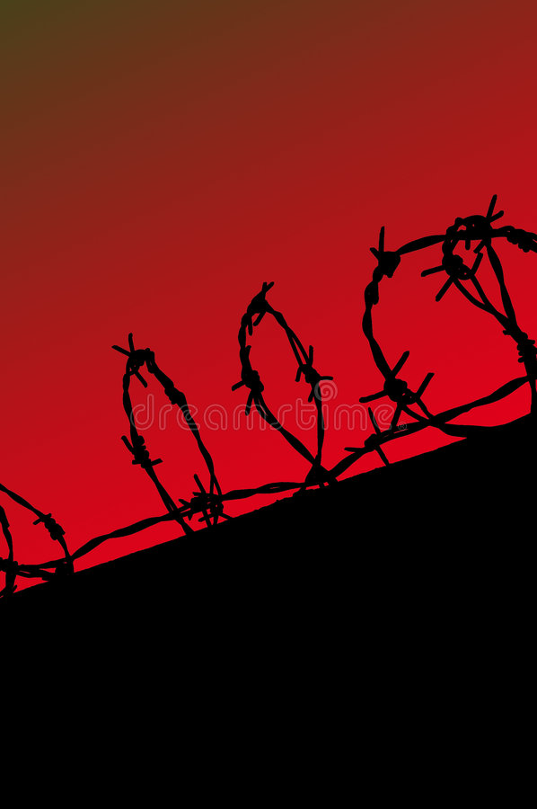 Free Prison Fence Silhouette On Red Gradient Sky Royalty Free Stock Images - 1885249