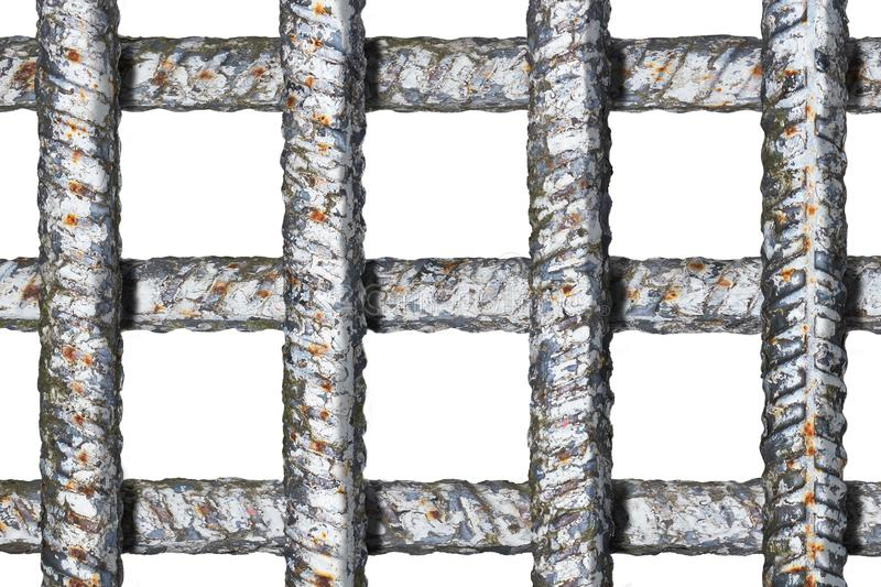 Prison grate with crossing thick metal bars without shadows isolated on white. Background stock image
