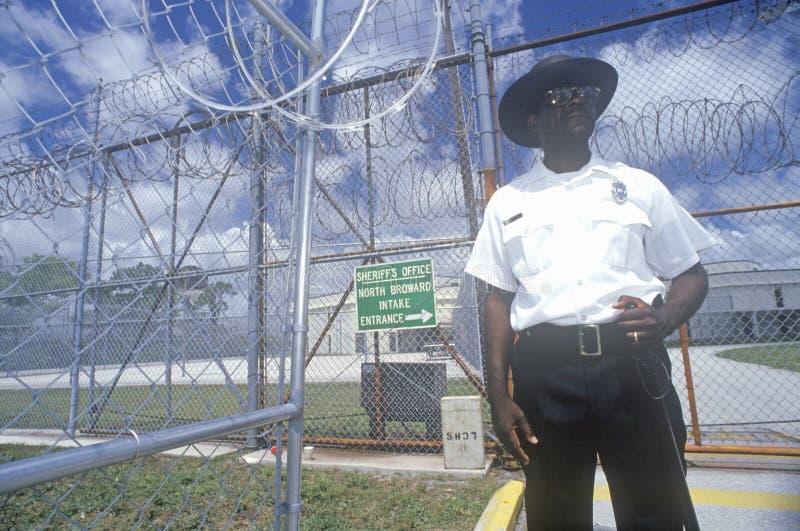 Prison Guard at Dade County Correctional Facility, FL stock photos