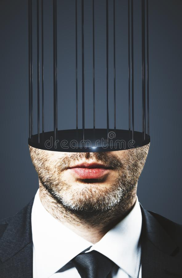 Prison headed businessman stock image