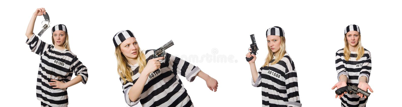 Prison inmate with gun isolated on white royalty free stock image