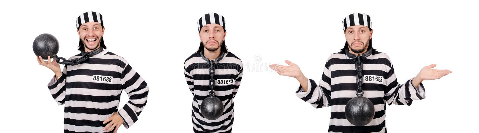 The prison inmate isolated on the white background. Prison inmate isolated on the white background royalty free stock images