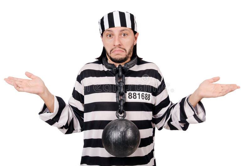 Prison inmate. Isolated on the white background stock image