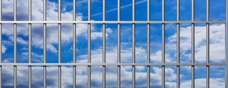 Prison, jail bars on blue sky background, banner. 3d illustration vector illustration