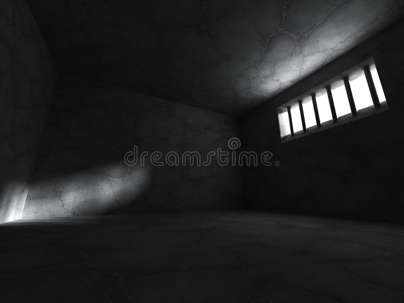 Prison jail cell concrete room with barred window stock illustration