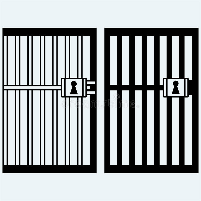 Prison, jail. Isolated on blue background. Vector silhouettes vector illustration