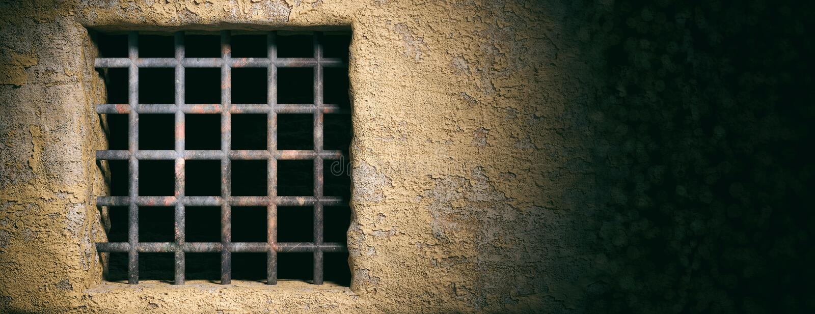 Prison, jail window with rusty bars on old wall background. Banner, copy space. 3d illustration. Prison, jail window with rusty bars on old wall background stock photos