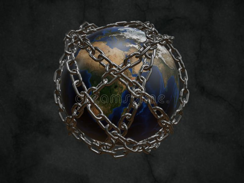 Prison Planet Earth. 3D rendered planet Earth chained as metaphor of Prison Planet - some elements of this image furnished by furnished NASA royalty free illustration
