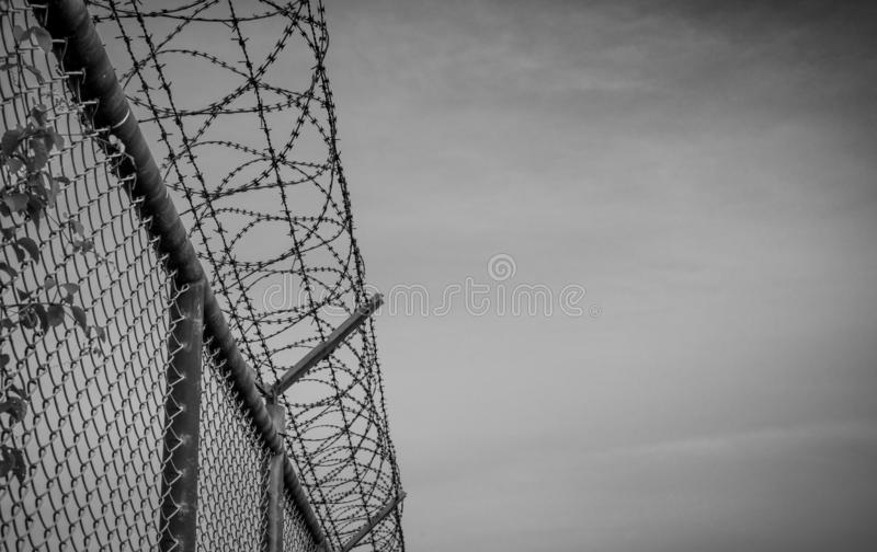 Prison security fence. Barbed wire security fence. Razor wire jail fence. Barrier border. Boundary security wall.  Prison stock images