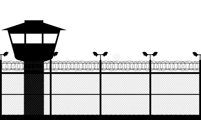 Prison tower, checkpoint, protection territory, watchtower, state border,military base. Street camera on the pillar. Fence wire stock photos