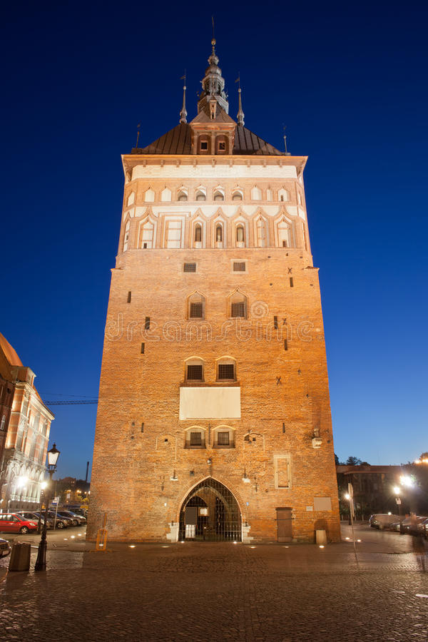 Prison Tower at Night in Gdansk. Prison Tower and Torture Chamber at night in Gdansk, Poland, city landmark royalty free stock image