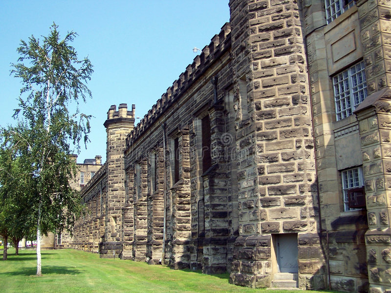 Prison Wall. The West Virginia State Penitentiary that once held Charles Manson (now closed royalty free stock image