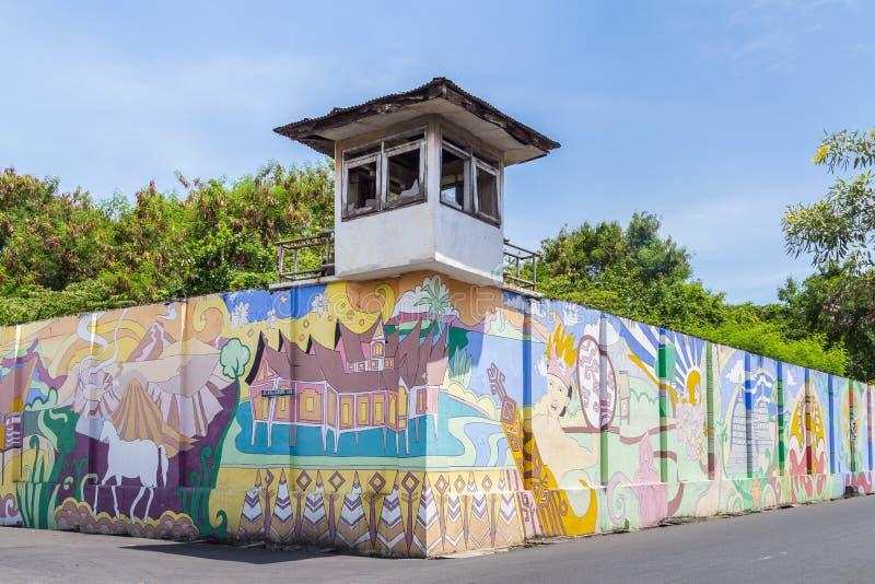 Prison wall Surabya, Indoensia. Surabaya, Indonesia - November, 04, 2017: Wall of an old prison calles Penjara Kalisosok in Surabaya. Java, Indonesia royalty free stock images