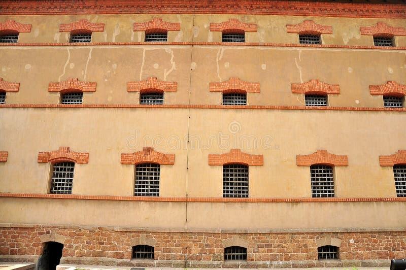 Prison wall window stock photo
