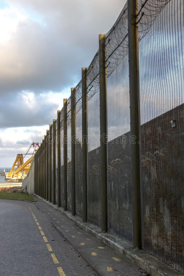 Prison walls and security fence. Peterhead, Scotland stock photography