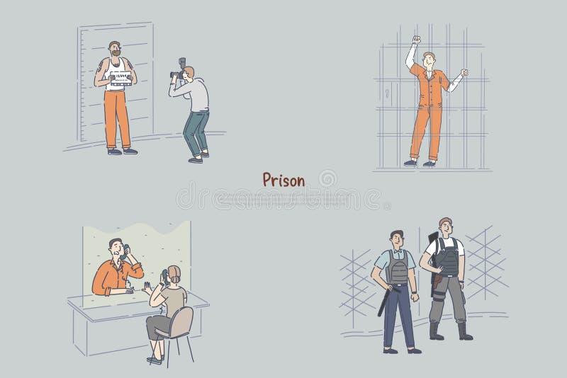Prisoner behind bars, suspect posing for police mugshot, inmate in visiting room, police officer guarding banner template. Jail, justice, imprisonment concept vector illustration