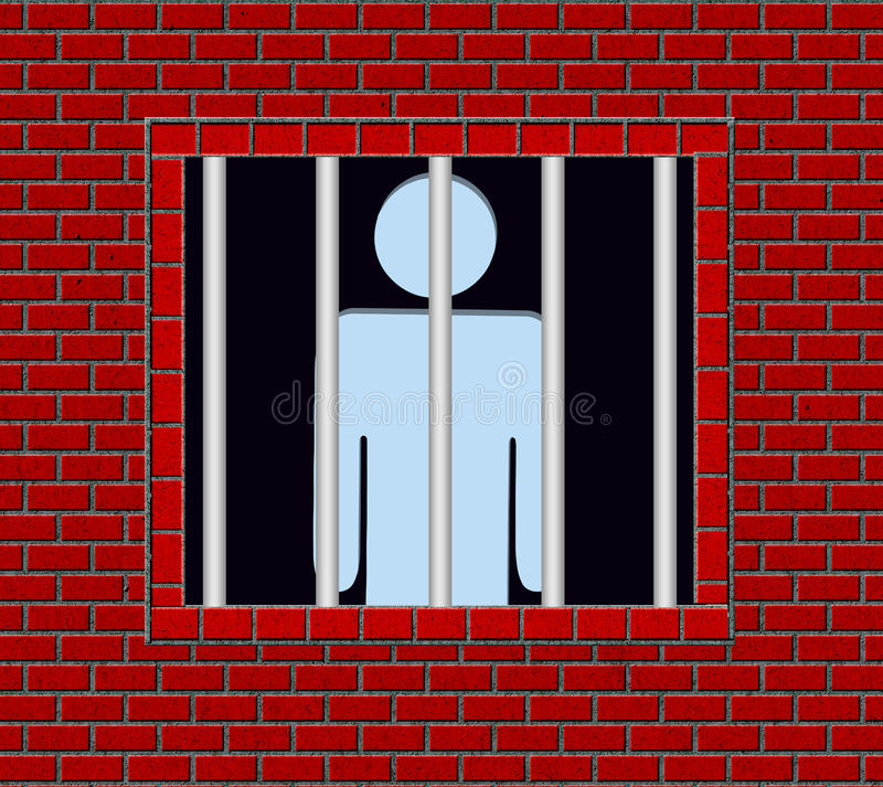 Prisoner. An illustration of a prisoner looking out to the outside world from the grilled window of his cell stock illustration