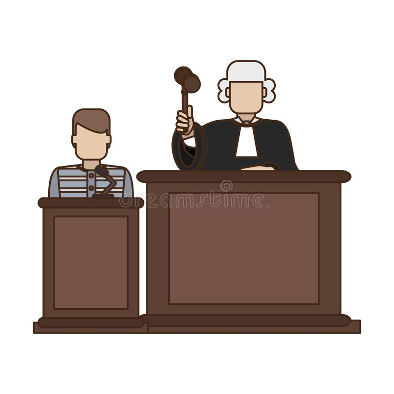 Prisoner and judge in courtroom. Vector illustration graphic design stock illustration