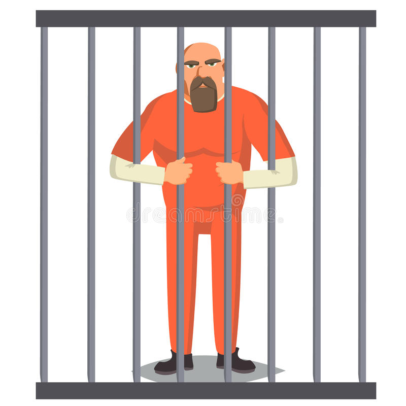 Free Prisoner Man In Pokey Vector. Outlaw Robber Arrested And Locked. Cartoon Character Illustration Royalty Free Stock Images - 99290339