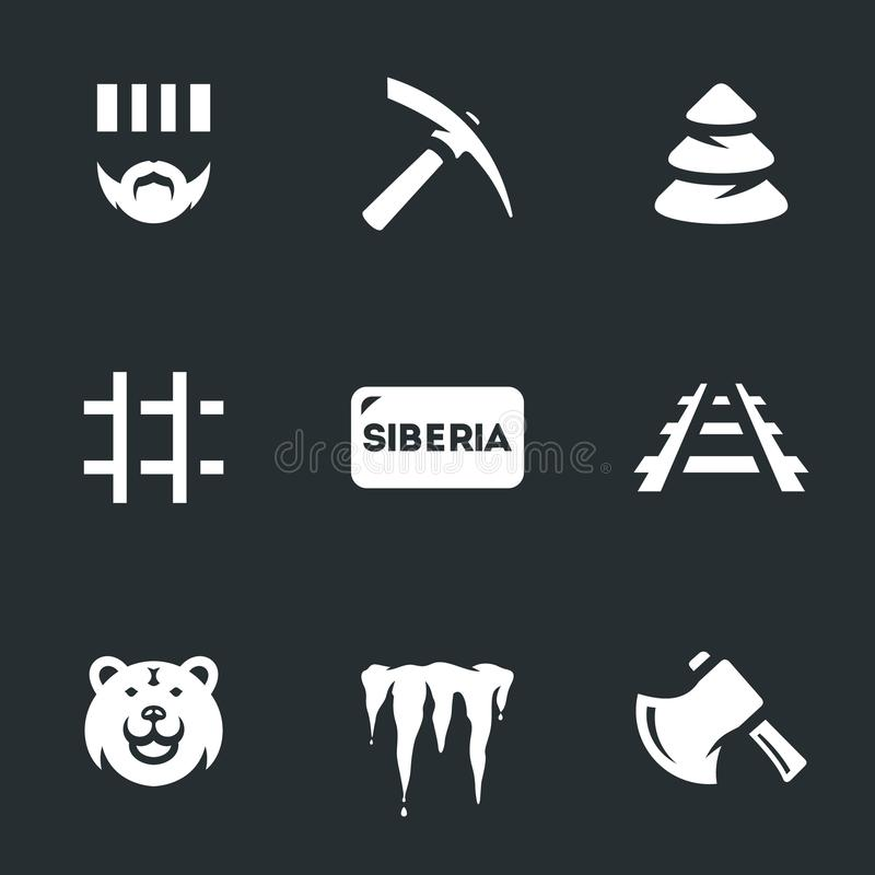 Vector Set of Siberia Icons. Prisoner, pickaxe, forest prison railway bear icicles ax stock illustration