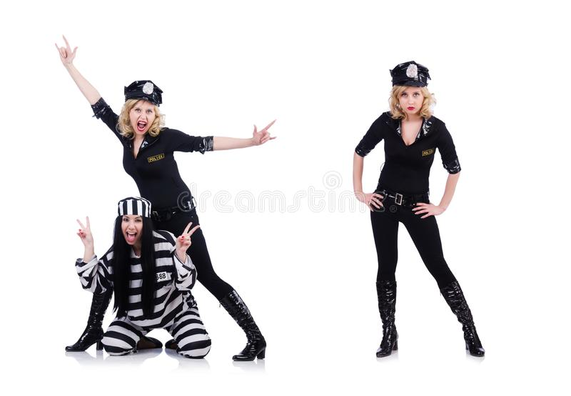 Prisoner and police isolated on the white royalty free stock photography
