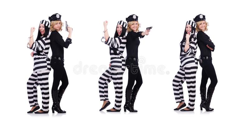Prisoner and police  on the white stock photo