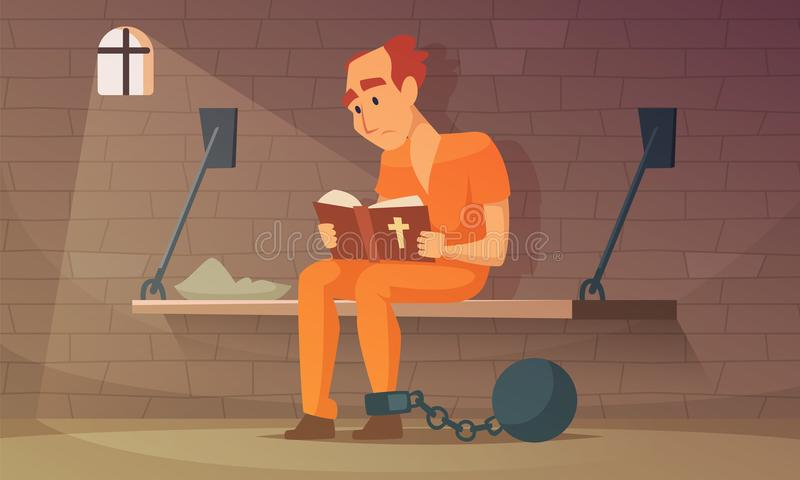 Prisoner sitting in cell and reading bible stock illustration