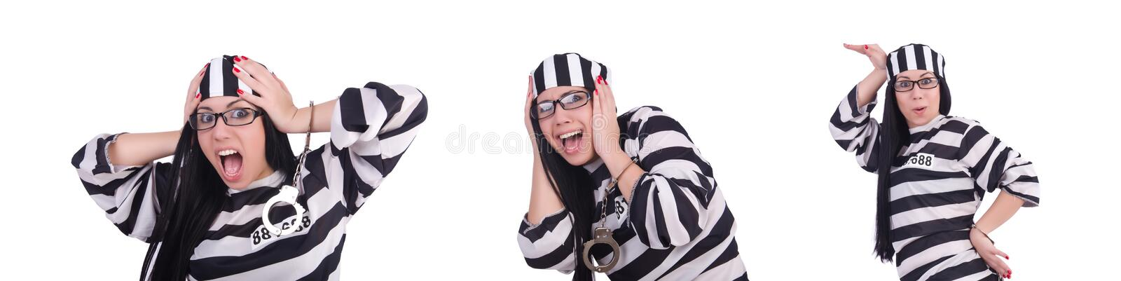 Prisoner in striped uniform on white royalty free stock photo