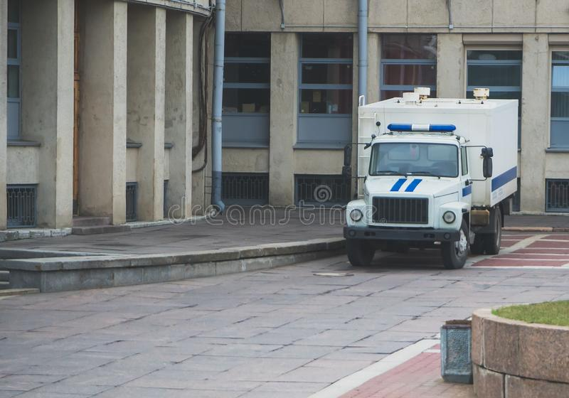 Prisoner transport vehicle. Prisoner transport vehicle standing near the courthouse in Russia stock photo