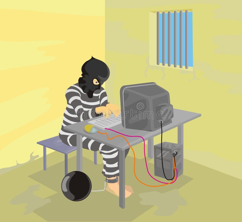 Prisoner using computer stock images