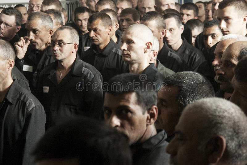Prisoners in the prison stock images