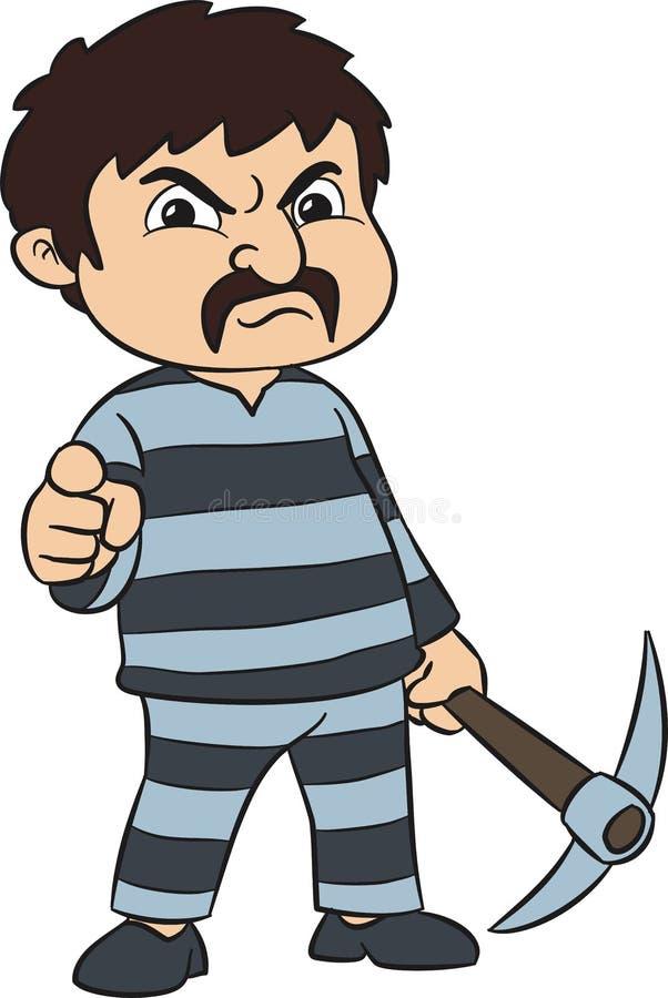 Prisonnier avec la pioche photo libre de droits